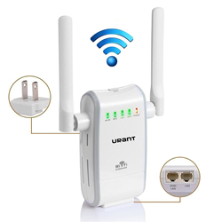 URANT 300Mbps Wireless Router Wifi Repeater Network Extender Long Range Signal Amplifier Wireless N Mini AP Router Booster Complies IEEE802.11n/b/g With Dual Extenal Roatated External Antenna