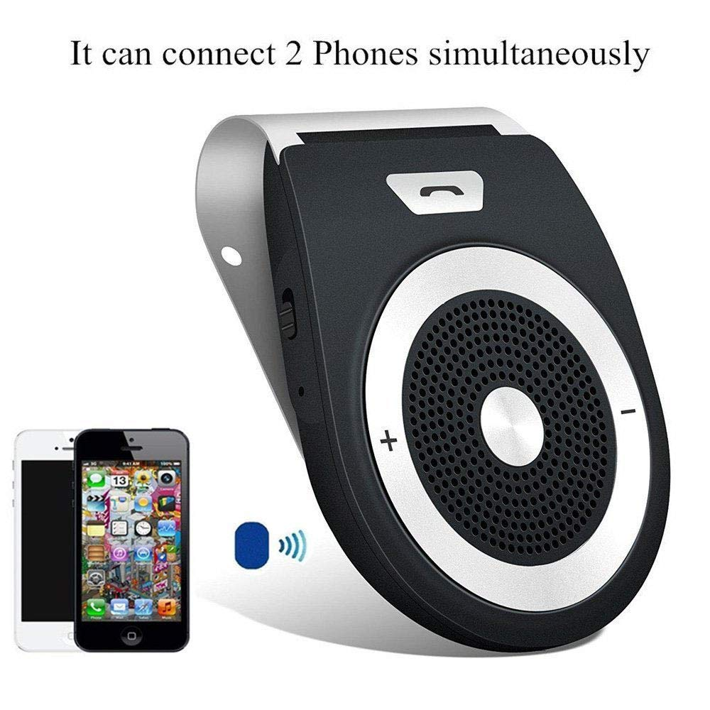 Bluetooth Car Speakerphone Kits,Bluetooth 4.1 Hands-Free Motion AUTO-ON Car Kit Stereo Music Speaker Wireless Sun Visor Player Adapter Built-in Mic & Car Charger,Connect 2 Phones at Same Tim